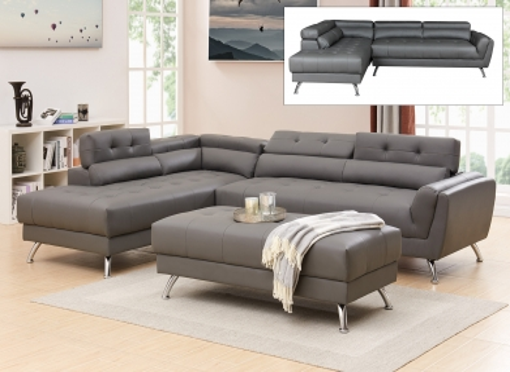Canapé d'angle capitonné gris ALISON - Angle Gauche
