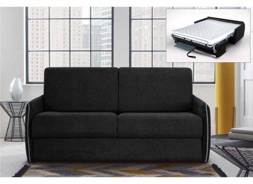 Canapé convertible 3 places FABIO en tissu gris carbone ouverture express