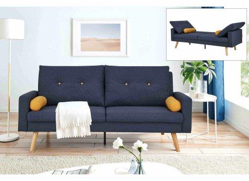 Canapé clic clac 3 places en tissu bleu SERENA