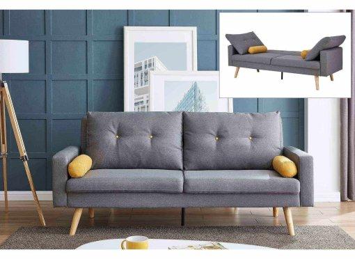 Canapé clic clac 3 places en tissu gris clair SERENA