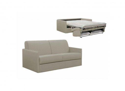 Canapé convertible 3 places LOUNA SLIM en tissu beige ouverture express