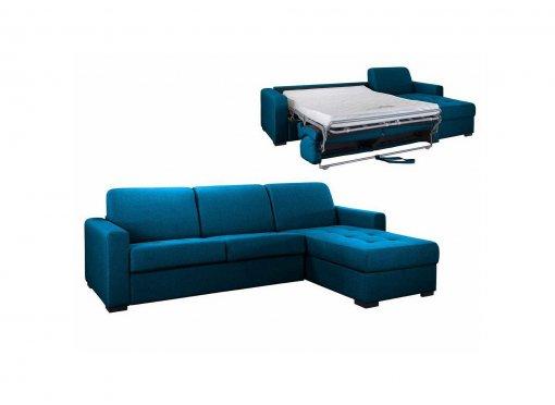 Canapé d'angle réversible convertible LOUNA en tissu bleu pétrole avec coffre de rangement