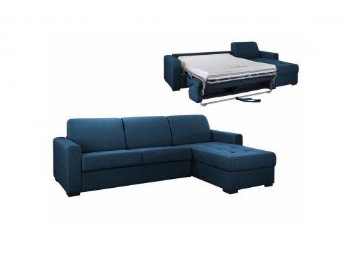 Canapé d'angle réversible convertible LOUNA en tissu bleu denim avec coffre de rangement