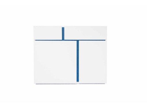 Buffet design 2 portes 2 tiroirs blanc et bleu AZUR