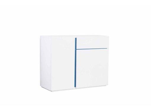 Buffet design 2 portes 1 tiroir blanc et bleu AZUR