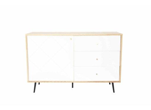 Buffet bas scandinave blanc 1 porte 3 tiroirs ARTY