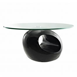 Table basse design noir en verre MAXUS