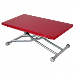 Table basse relevable laquée rouge NEPTUNE XL