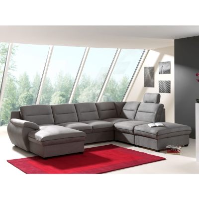 Canapé d'angle panoramique convertible tissu gris STAN angle gauche
