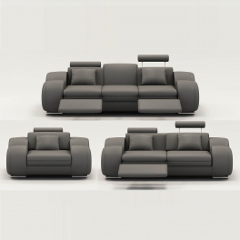 Ensemble cuir relax OSLO 3+2+1 places gris