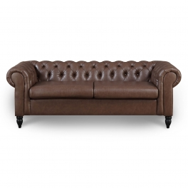 Canapé Chesterfield 3 places marron WINSTON