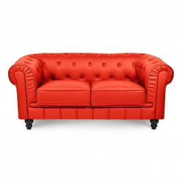 Canapé 2 places rouge CHESTERFIELD
