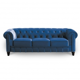 Canapé 3 places velours bleu CHESTERFIELD