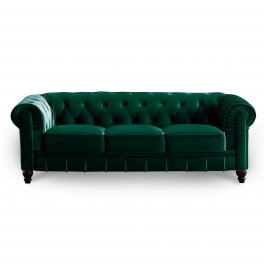 Canapé 3 places velours vert CHESTERFIELD