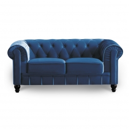 Canapé 2 places velours bleu CHESTERFIELD