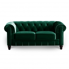 Canapé 2 places velours vert CHESTERFIELD