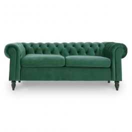 Canapé Chesterfield 3 places en velours vert WINSTON