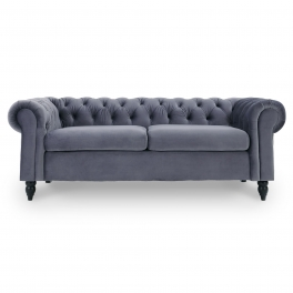 Canapé Chesterfield 3 places gris velours WINSTON