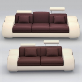 Ensemble cuir relax OSLO 3+2 places marron et beige