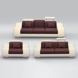 Ensemble cuir relax OSLO 3+2+1 places marron et beige