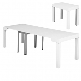 Table console extensible laquée blanc 4 rallonges ALESIA