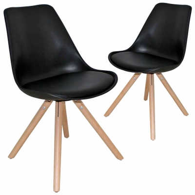 Lot de 2 chaises design noir VELTA