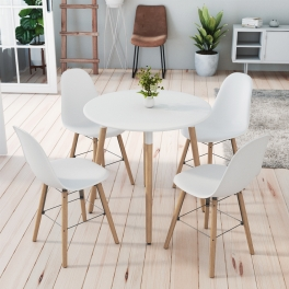 Ensemble table ronde RIMMA + 4 chaises blanches scandinaves