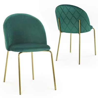 Lot de 2 chaises design en velours vert KENNETH