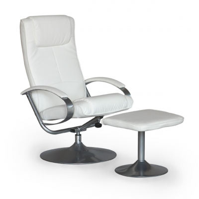 Fauteuil relax pivotant blanc avec repose pied GABY