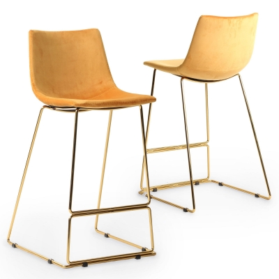 Lot de 2 tabourets de bar design en tissu velours jaune LOUISE