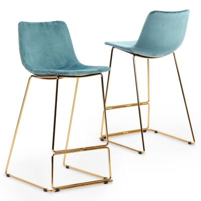 Lot de 2 tabourets de bar design en tissu velours bleu LOUISE