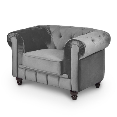 Fauteuil velours Gris CHESTERFIELD