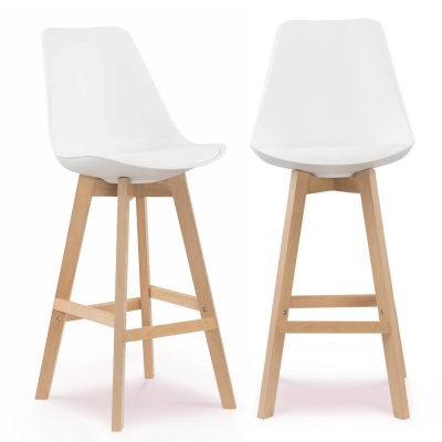 Lot de 2 tabourets de bar scandinave blanc GALA