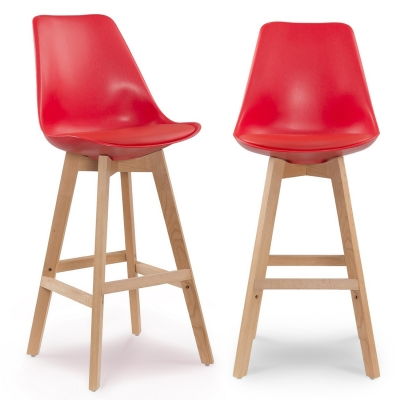 Lot de 2 tabourets de bar scandinave rouge GALA