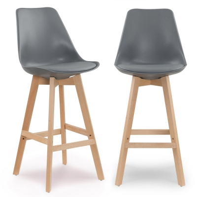 Lot de 2 tabourets de bar scandinave gris GALA