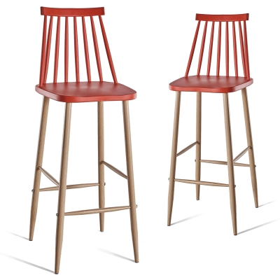 Lot de 2 chaises de bar scandinaves rouges BERTA