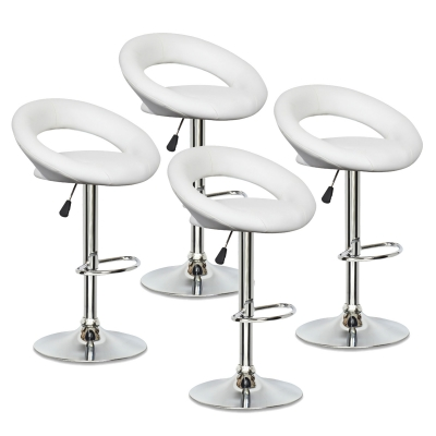 Lot de 4 tabourets de bar blanc JETI