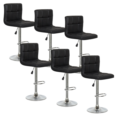 Lot de 6 tabourets de bar noir SCALO