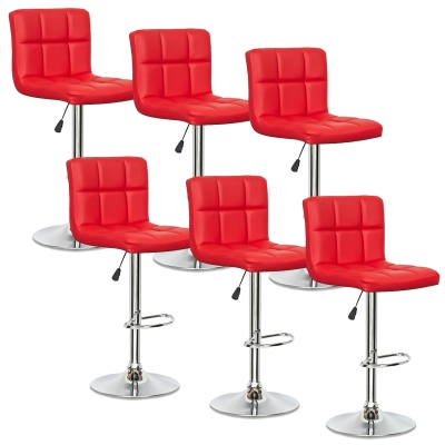 Lot de 6 tabourets de bar rouge SCALO