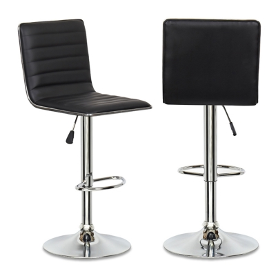 Lot de 2 tabourets de bar noir LOCAS