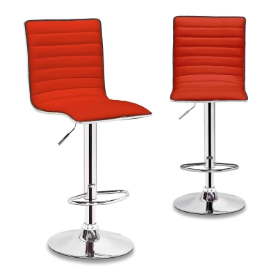 Lot de 2 tabourets de bar rouge LOCAS