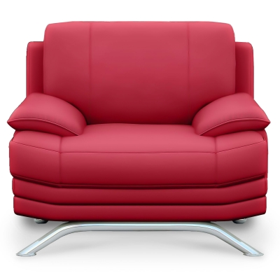 Fauteuil cuir rouge ROMEO