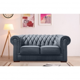 Canapé capitonné 2 places en cuir gris CHESTERFIELD