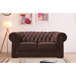 Canapé capitonné 2 places en cuir marron CHESTERFIELD