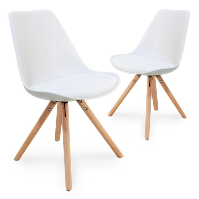 Lot de 2 chaises design blanc VELTA