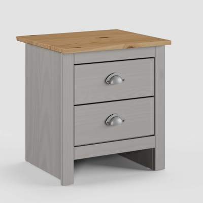 Table de chevet 2 tiroirs en bois gris SCOTT