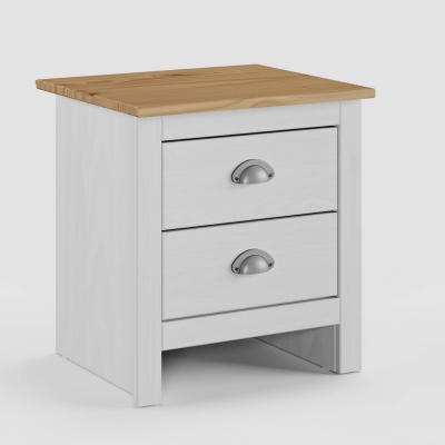 Table de chevet 2 tiroirs en bois blanc SCOTT