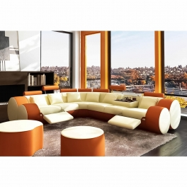 Canapé d'angle cuir beige et orange + positions relax ROMA - Angle Gauche