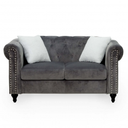 Canapé 2 places capitonné chesterfield en velours gris GARRY