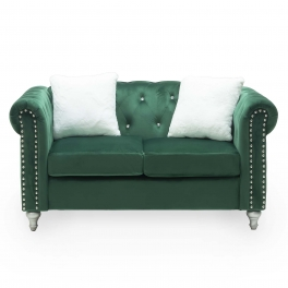 Canapé 2 places capitonné chesterfield en velours vert GARRY